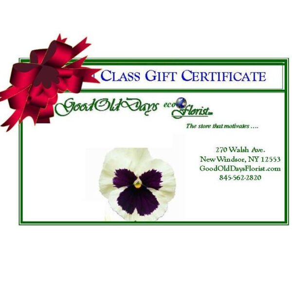 floral design gift certificate