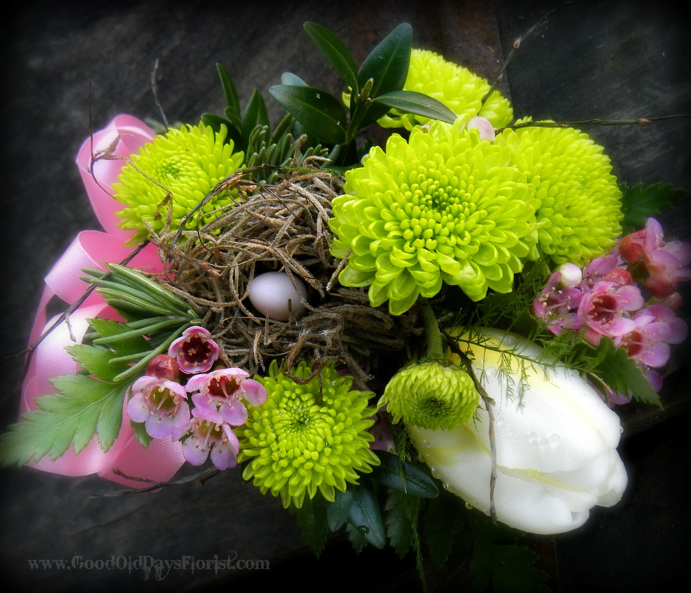 spring corsage with birdsnest