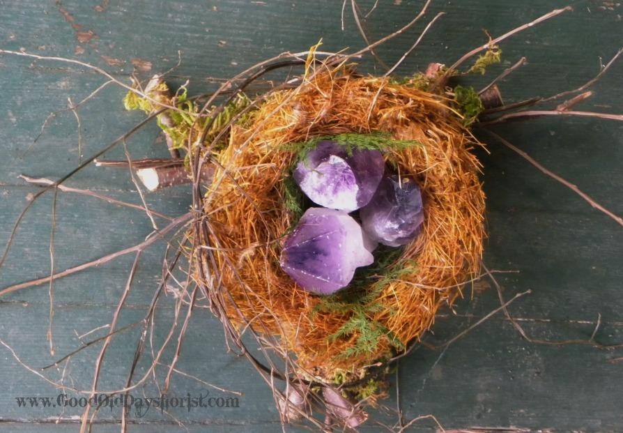birds nest of amethyst crystals