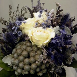 blue dried flower bouquet